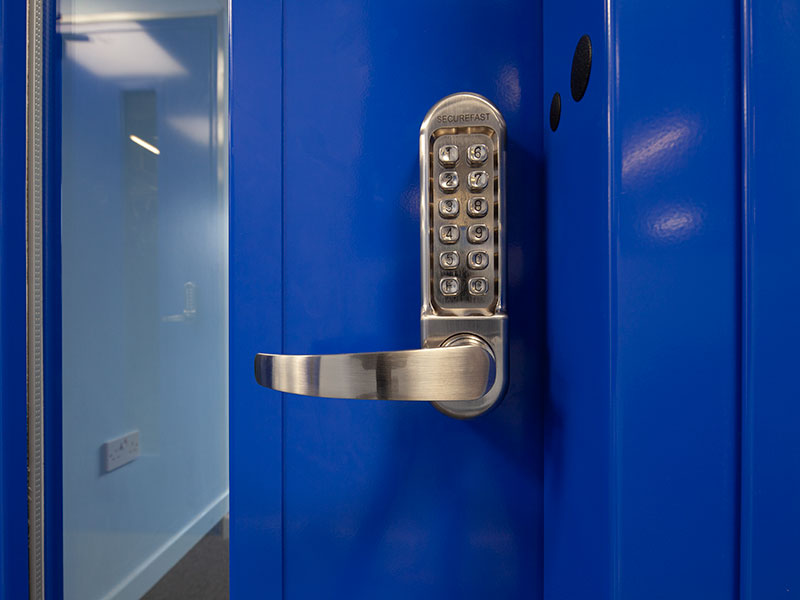 steel fire door with locking handle
